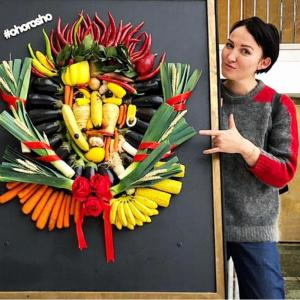 Портрет Макса Покровского из овощей и фруктов