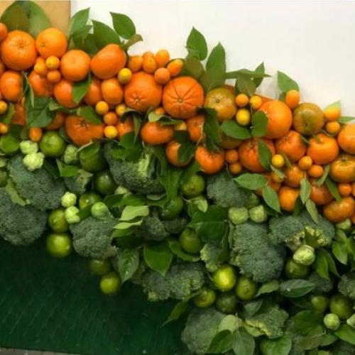 Фотозона из брокколи и мандаринов, фрагмент